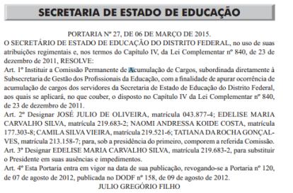 DODF 9-3-15 Comissão de Acumulação de Cargos